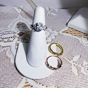 """Tri color 3 pc white sapphire wedding set """"only 1"""""""
